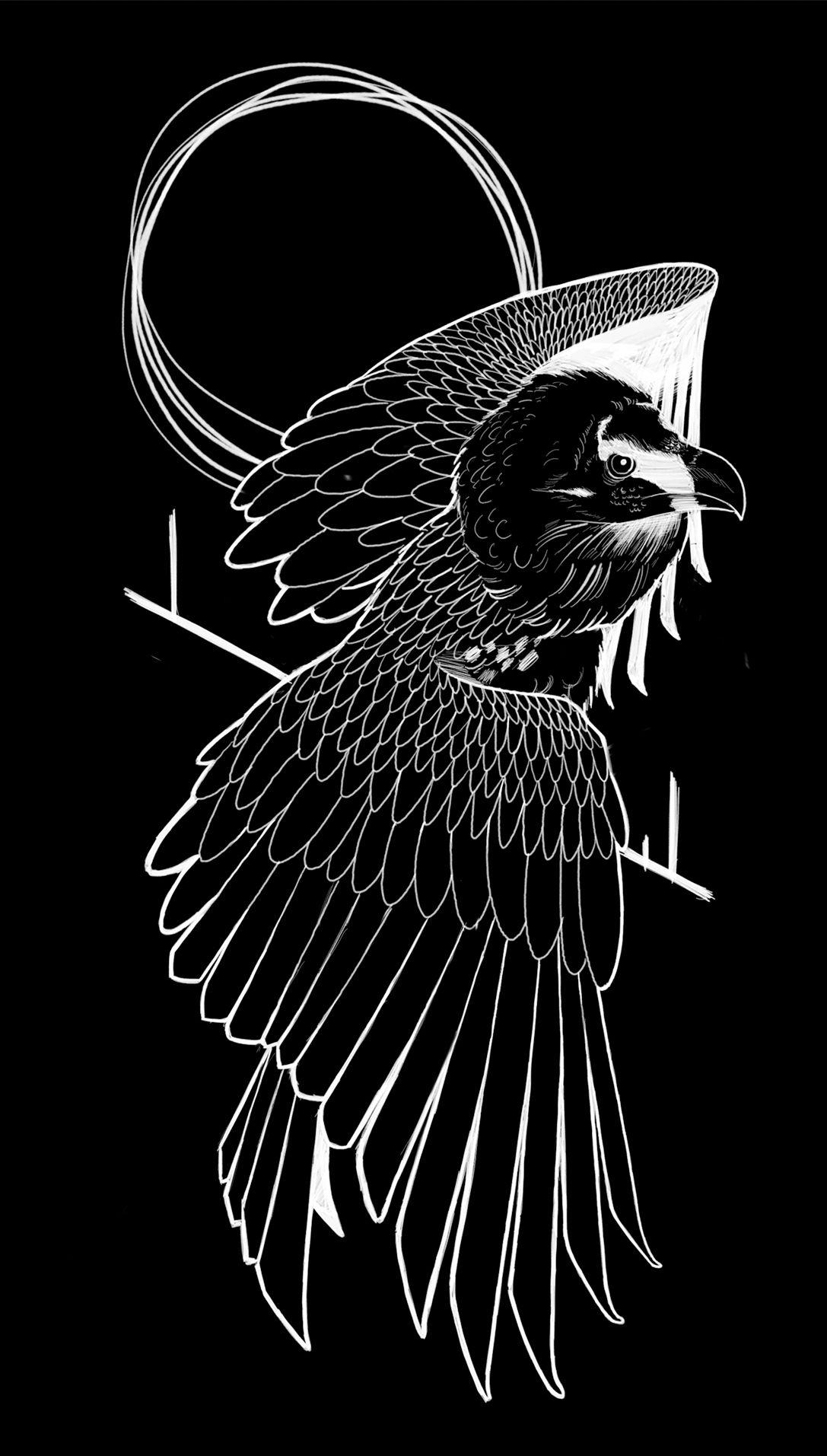 vulture blackwork tattoo